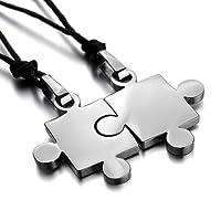 Xiton Uomini, 2 PCS in acciaio collana ciondolo in acciaio puzzle delle coppie di amore delle donne regolabile 20~22 pollici a catena