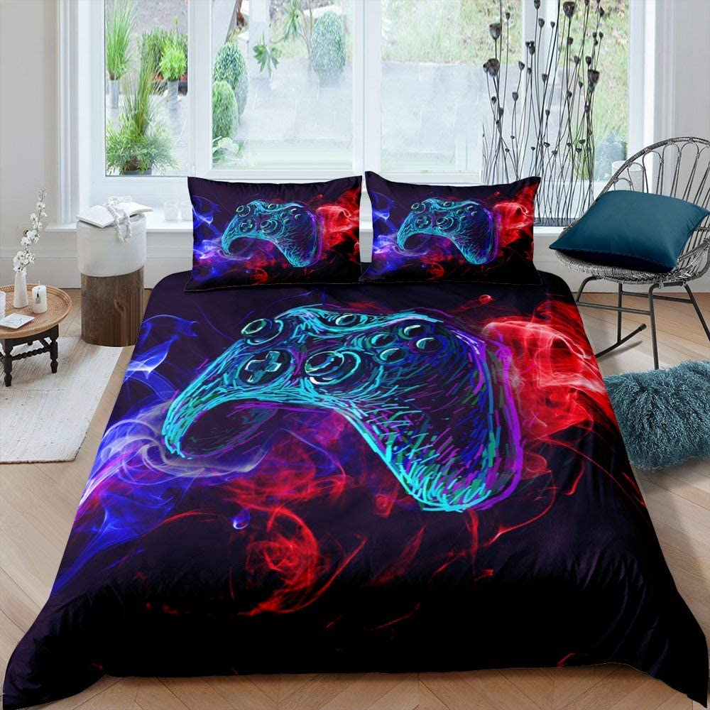 Gamer Boys Bedding Set Gaming Video Games Comforter Cover for Teens Kids Game Room Decor Duvet Cover Novelty Gamepad Action Buttons Joysticks Red and Blue Decor Bedspread, Twin Size, No Comforter