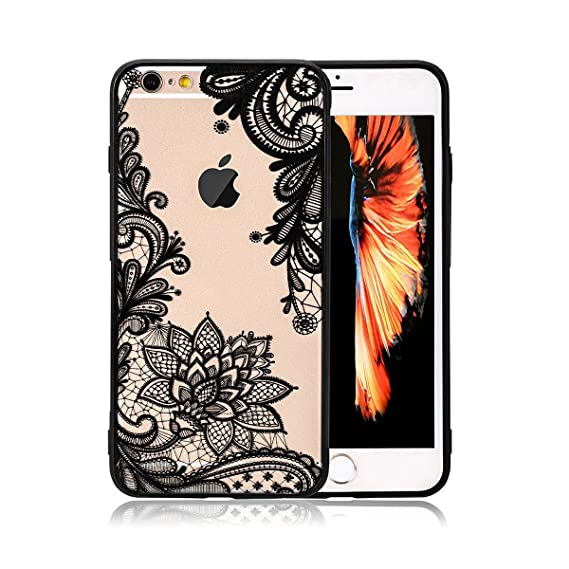 competitive price dcf51 39df9 iPhone 6 Case,iPhone 6s Case,HUIYCUU Totem Henna Lace Flower Slim Fit Case  Soft Bumper Border Matte Hard Back Cover Girls Paisley Datura Design for ...