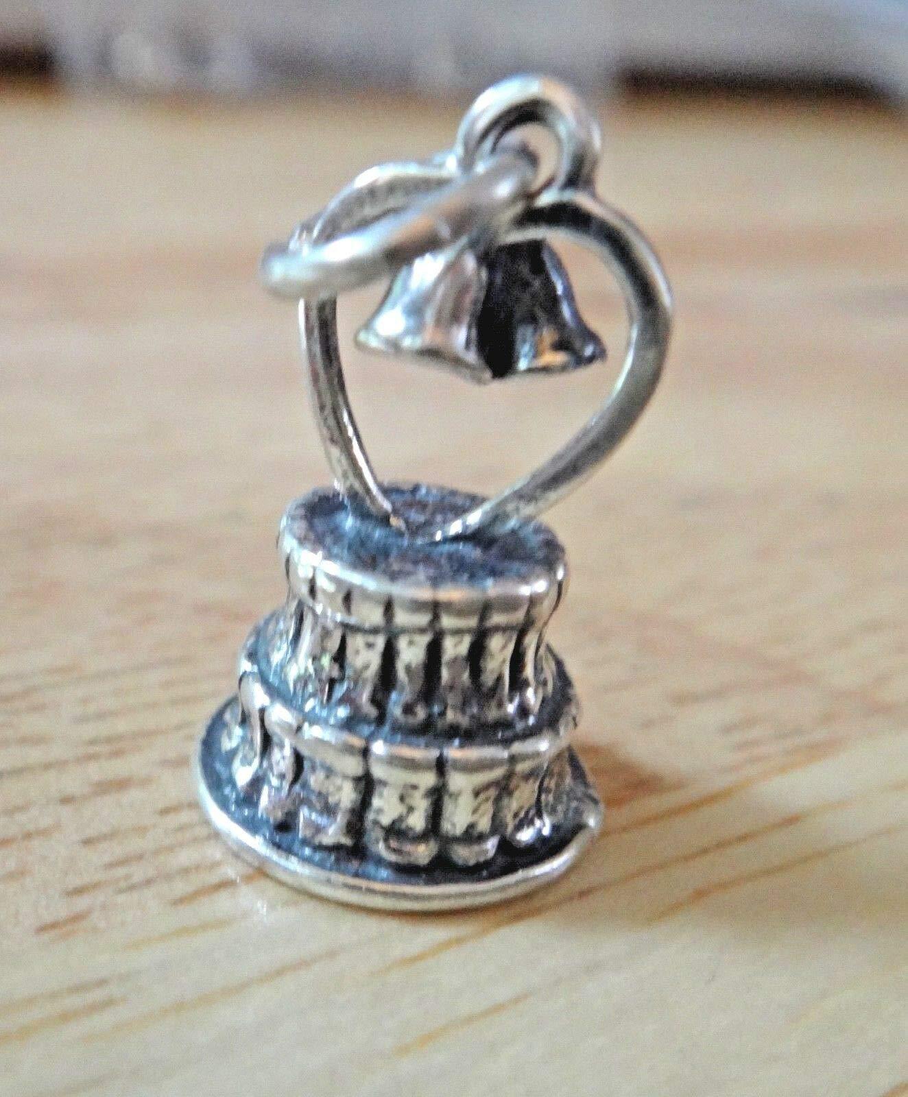 Fine Charms Sterling Silver 3D 19mm Wedding Cake w/Bells Cake Topper Top Bride Groom
