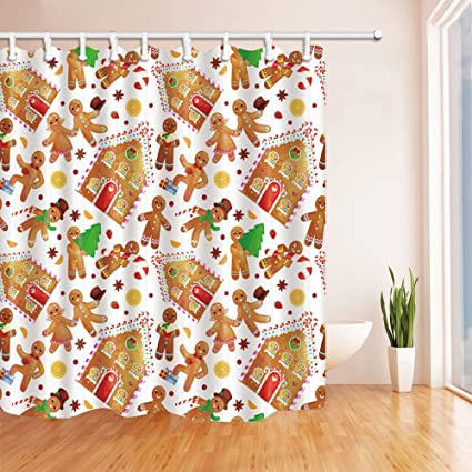 Gingerbread Man And House Christmas Waterproof Fabric Bathroom Shower Curtain