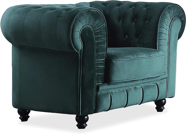 Adec - Chesterfield, Sofa Individual de una Plaza, Sillon Descanso una 1 Persona, butaca Acabado en capitone Color Velvet Verde, Medidas: 115 cm (Ancho) x 84 cm (Fondo) 75 cm (Alto)