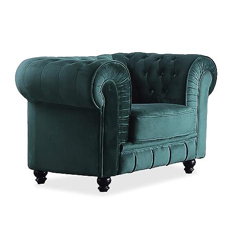 Adec - Chesterfield, Sofa Individual de una Plaza, Sillon Descanso una 1 Persona, butaca Acabado en capitone Color Velvet Verde, Medidas: 115 cm ...