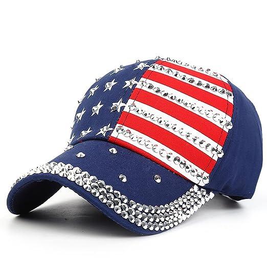 29fc32687089a Xuzirui USA Bling Baseball Cap Sparkle Rhinestone American Flag Hat  Adjustable Size Snapback Hat Hip Hop Caps