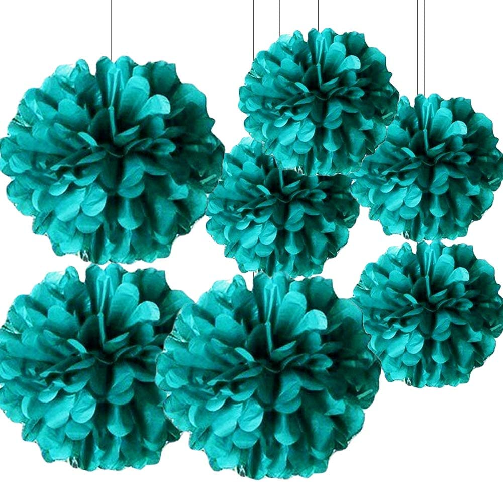 HappyField Teal Tissue Paper Pom Poms Teal Bridal Shower Decorations Wedding Party Decorations Baby Shower Decorations 12PCS 10inch 12inch Hanging Paper Flower Birthday Party Decorations Room Decor
