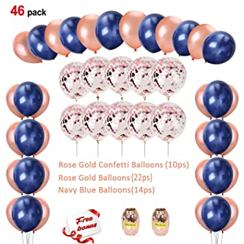 Amazoncom Sorive Navy Blue And Rose Gold Confetti Balloons Party