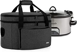 Luxja Double Layers Slow Cooker Bag (with a Bottom Pad and Lid Fasten Straps), Insulated Slow Cooker Carrier Fits for Most 6-8 Quart Oval Slow Cooker, Black (Bag Only)