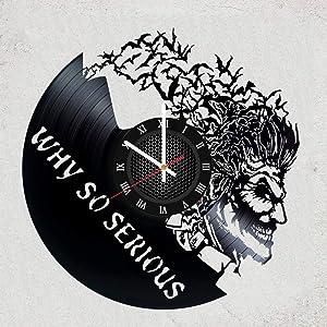 Joker Vinyl Wall Clock - Joker Wall Decor - Cool gift idea for brother,joker fan,men,boy - DC COMICS merchandise gifts for your bedroom decoraion - Batman dark