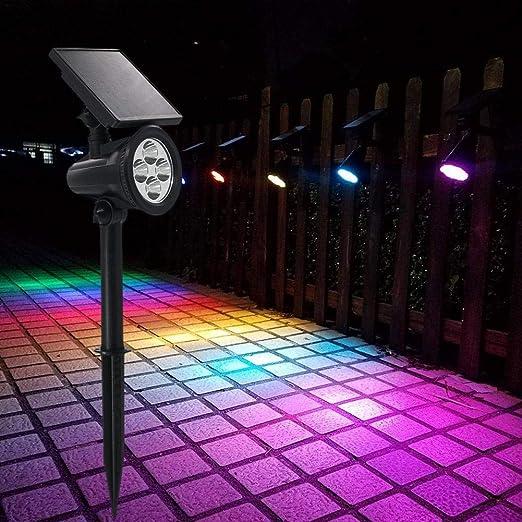Lámparas Solar Luces Exterior 4LED Luz de Jardín Focos Impermeable Luces Solares Exterior,Impermeable IP65,180 ° Ángulo Ajustable Farolas Solares,luz con muchos colores claros -12 Horas: Amazon.es: Iluminación