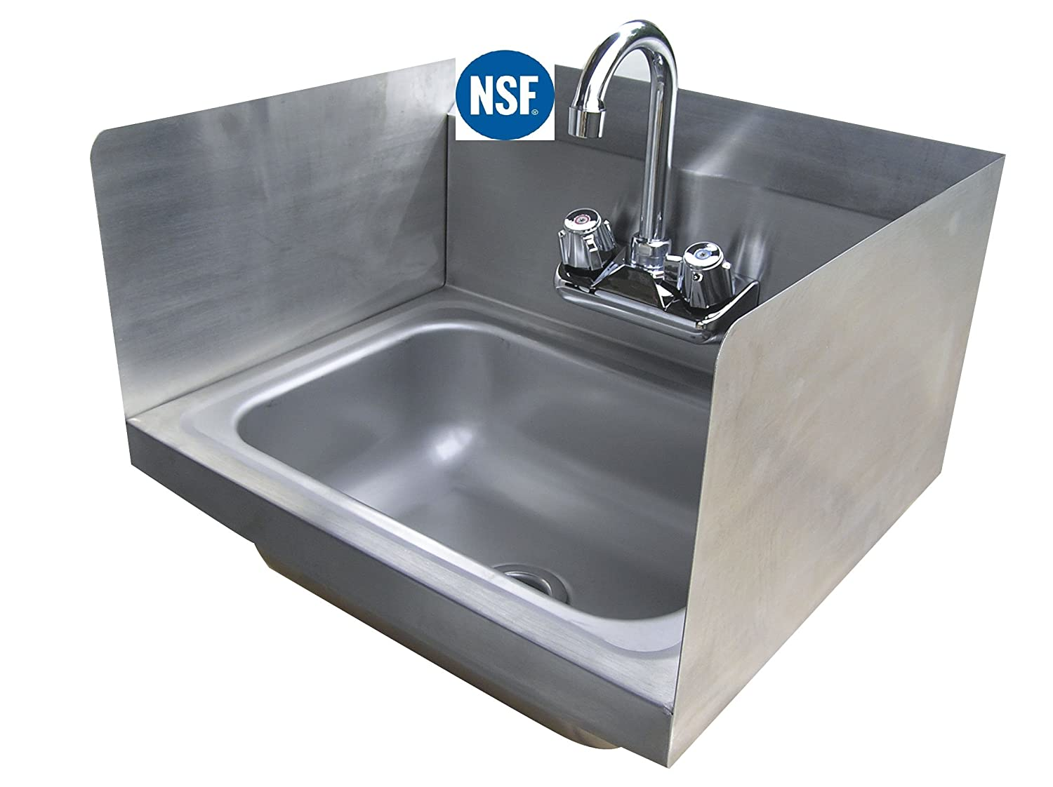 Stainless Steel Hand Sink With Side Splash Nsf Commercial Equipment 16 X 16