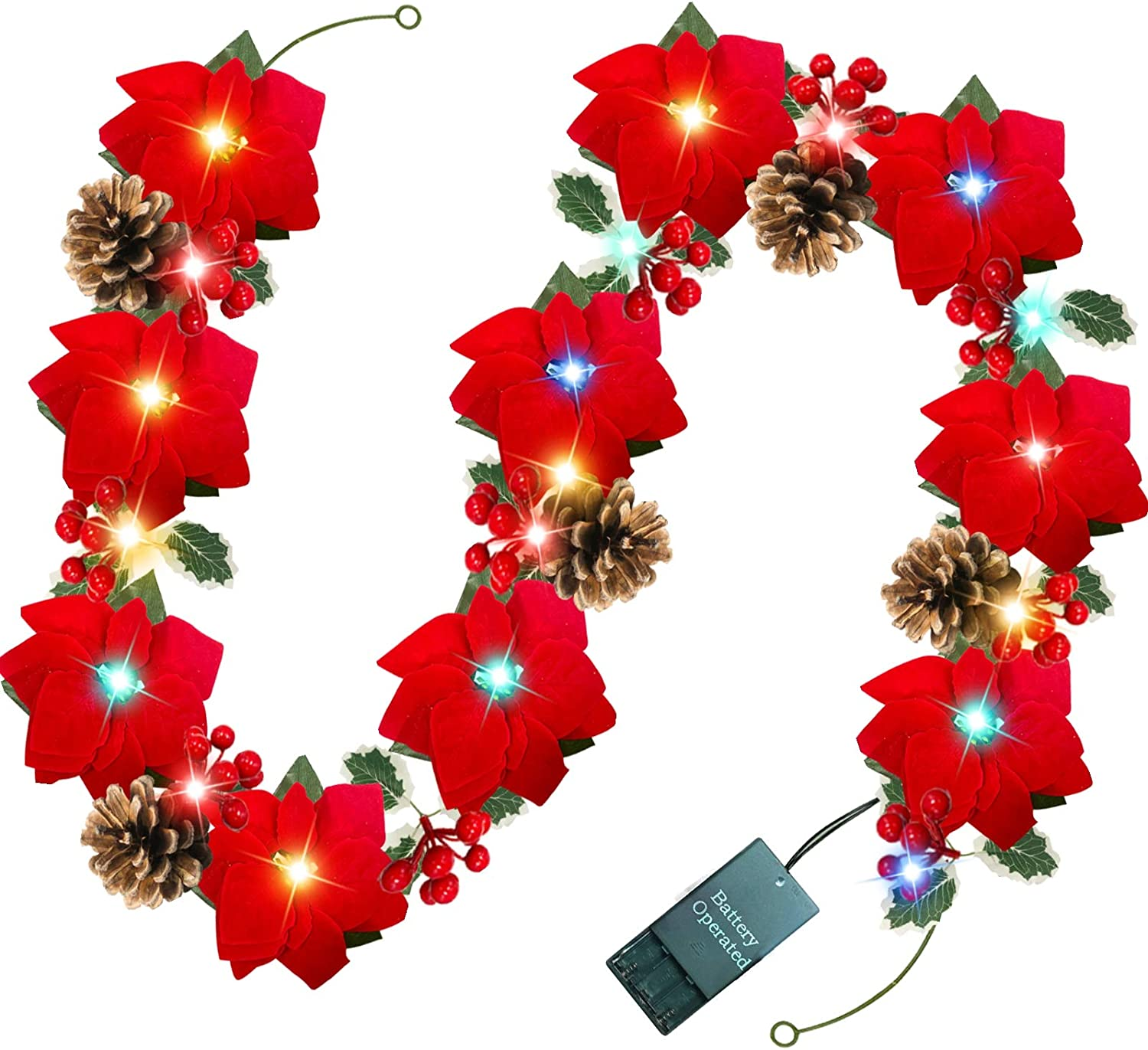 TURNMEON 6FT Christmas Poinsettia Garland with 20 Lights 10 Poinsettia 110 Glitter Golden Berry 5 Pinecones 60 Leaves Battery Operated Christmas Decor Indoor Outdoor Mantle Holiday Decor (Color)
