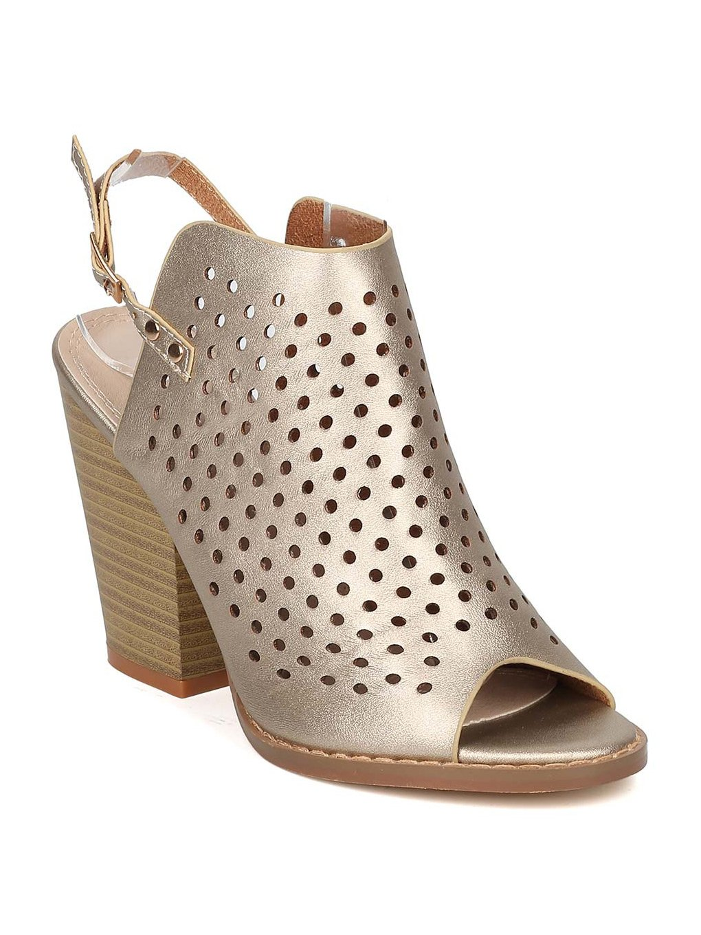 Nature Breeze Women Metallic Leatherette Perforated Slingback Chunky Heel Mule GF56 - Gold (Size: 9.0)