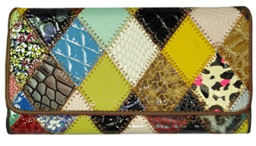 Monedero Cartera Billetera Piel Vaca Patchwork Charol ...