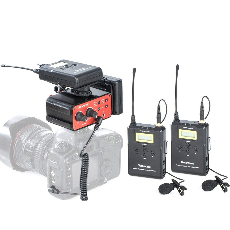 DSLRカメラおよびビデオカメラ用の2つのボディパックトランスミッター、2つのポータブルレシーバー、およびプレミアムオーディオミキサーを備えたSaramonicワイヤレスUHFデュアルラベリアマイクロホンシステム   B07KR2LBT4