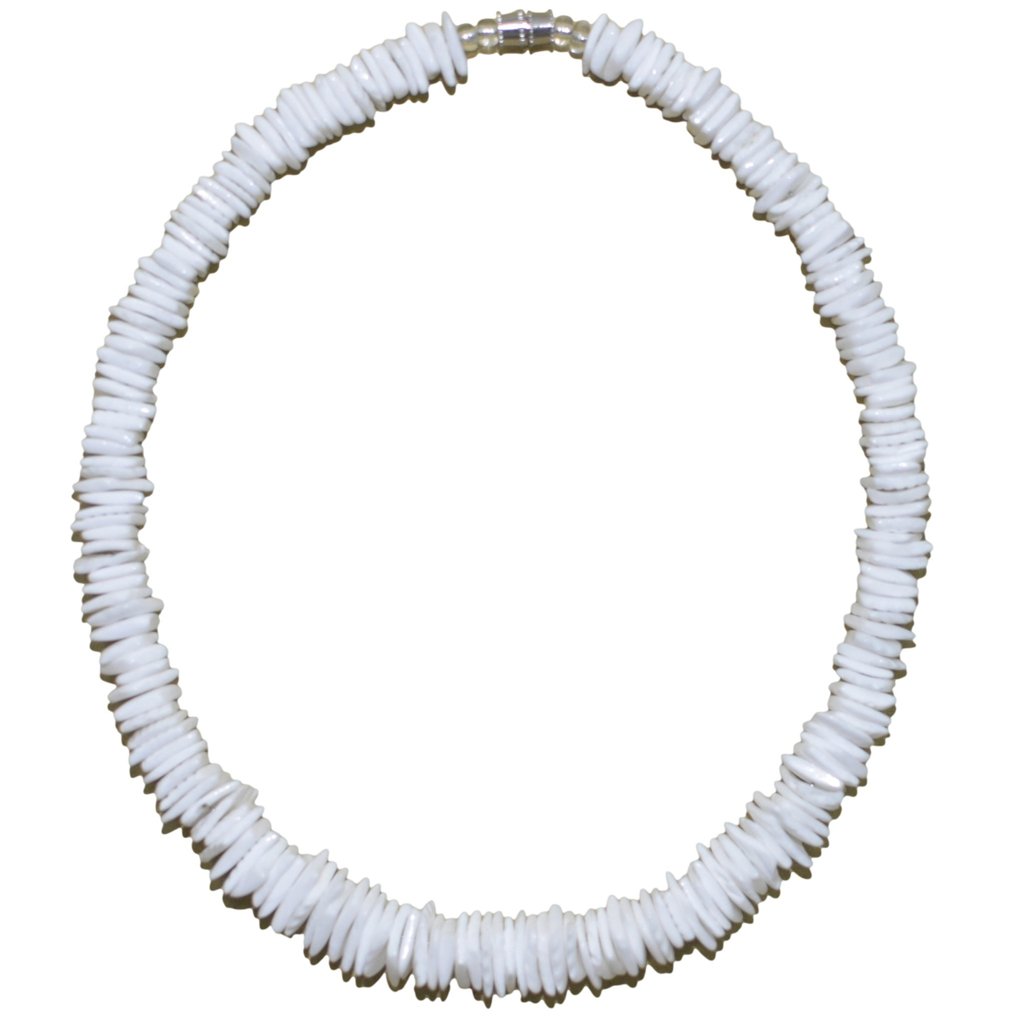 Native Treasure 18'' Polished White Rose Clam Chips Puka Shell Necklace