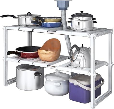 YOMYM 2 Tier Kitchen Shelf Organizers Rack Bathroom Cabinet Shelf Organizer  Adjustable Under Sink Shelf Stainless Steel Storage Rack Expandable Under  ...