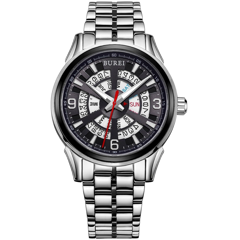 Burei® Tag und Datum Display Automatische Analog Armbanduhr fÜr Herren mit japanischem Edelstahl Armband