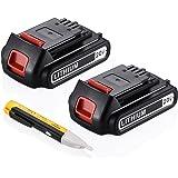 Powerextra 2 Pack 20v 2000mah Lithium-Ion Replacement Battery for Black&Decker LBXR20 LB20, LBX20 Cordless Tool Battery Black and Decker Lithium 20V