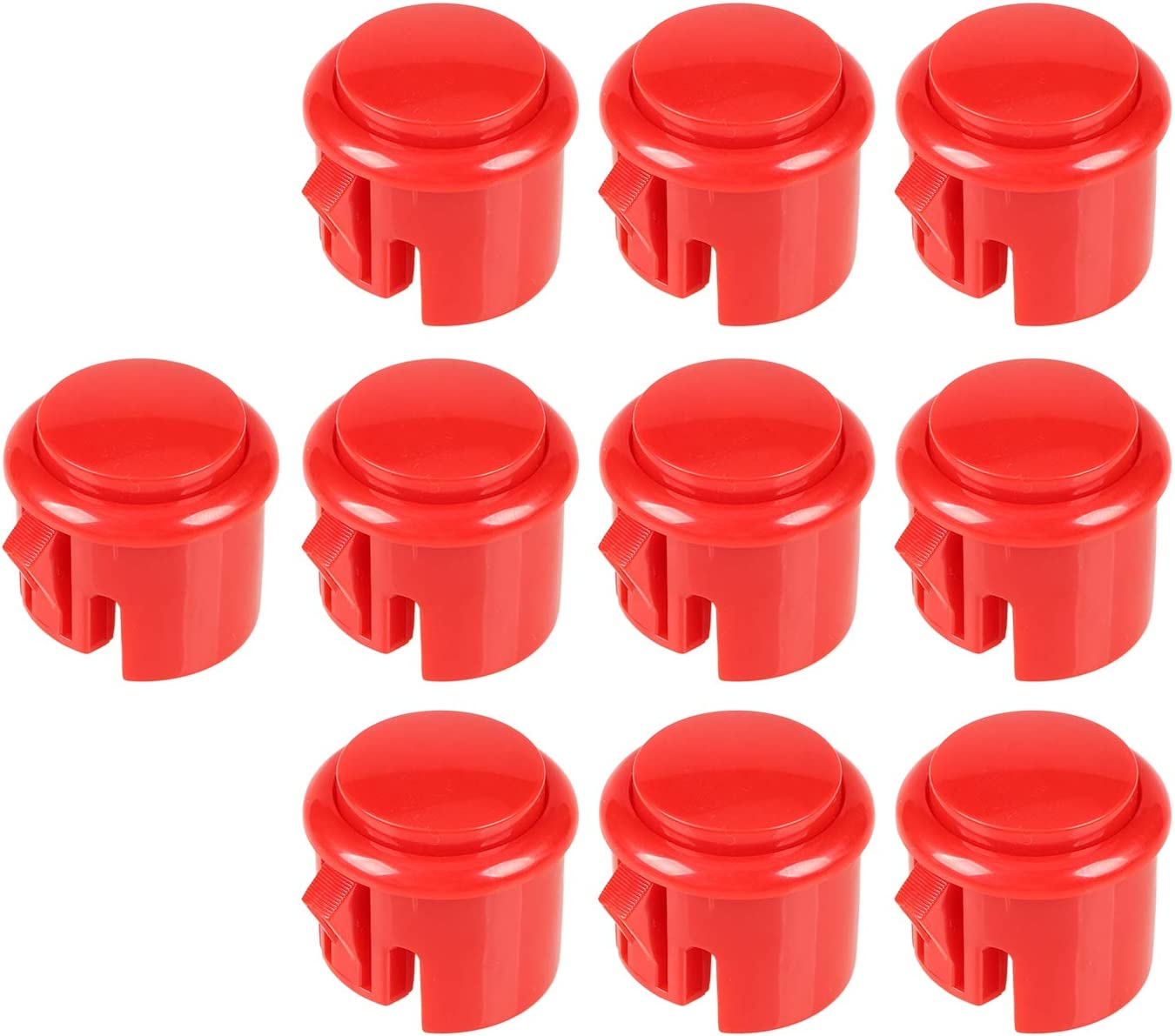 EG STARTS 10x OEM Arcade 30mm Push Buttons Built-in Micro Switch for Arcade Machine Mame Jamma KOF Pacman Games Parts - Red