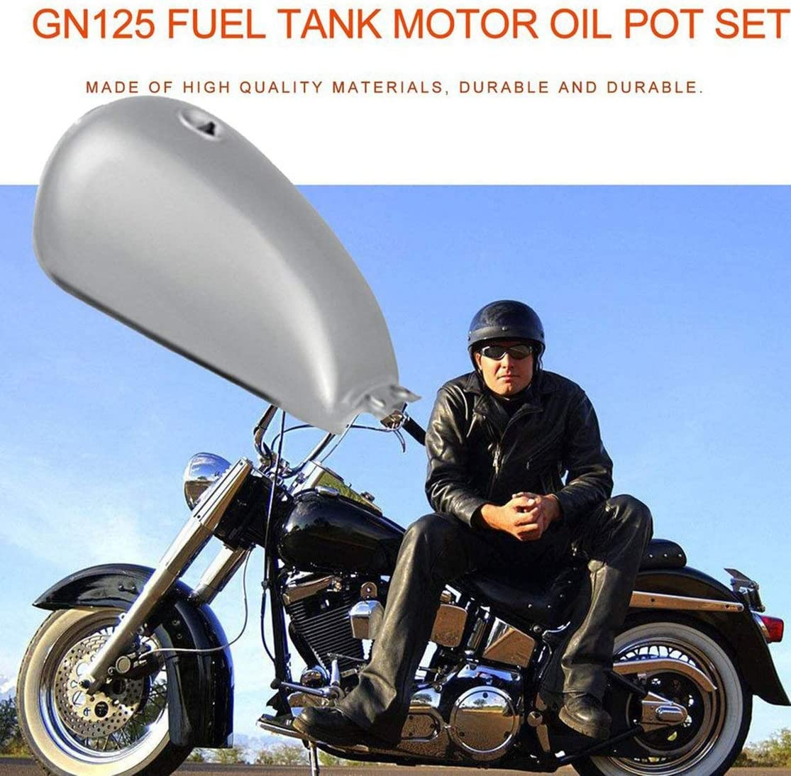 Color:Silver Kaemma Tanque de Gas Cafe Racer de Alto Rendimiento Tanque de Combustible de Hierro Universal Bobber para Suzuki GN125 GN250 GN F/ácil de Instalar