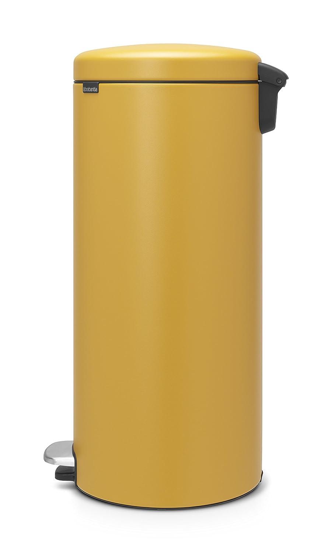 Brabantia NewIcon Cubo de basura de pedal, Acero Inoxidable, Mineral Mustard Yellow, 30 litros