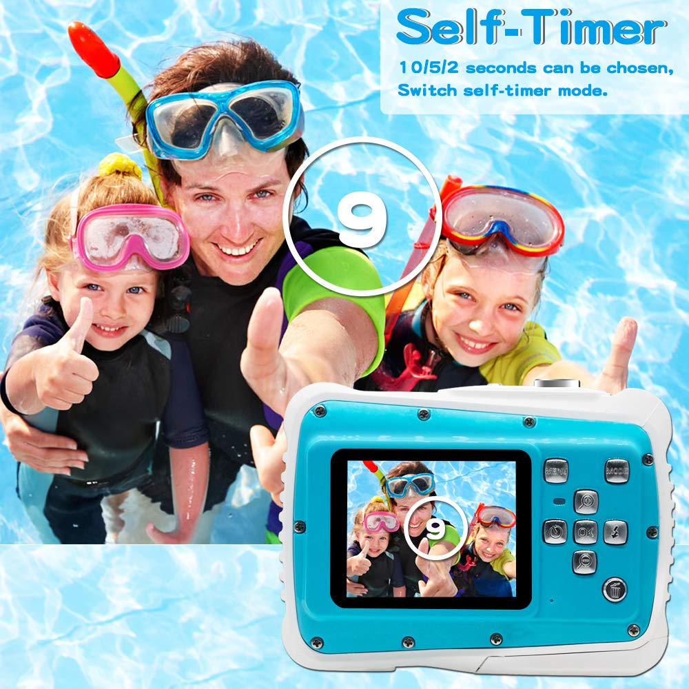 [Updated 2019 Model] ISHARE Kids Camera, Waterproof Kids Camera Best Gifts for Girls/Boys 21MP HD Underwater Digital Camera with 2.0'' LCD, 8 X Digital Zoom, Flash and Mic (Blue)... by ISHARE (Image #3)