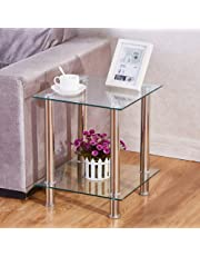 GOLDFAN Small Glass Table 2-Tier Square Sofa Glass Coffee Side Tables with Storage Shelf Stainless Steel Legs for Living Room Office