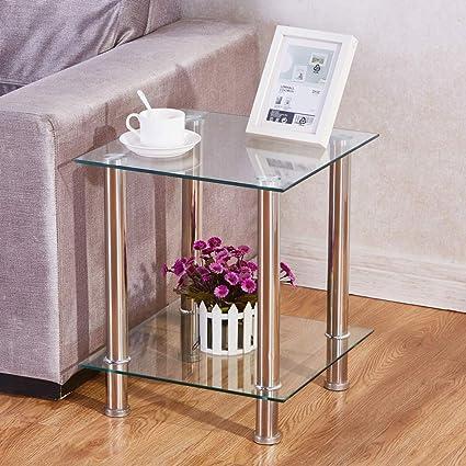 Goldfan Table Basse Salon Bout De Canape Avec 2 Etageres Table D Appoint Verre Trempe Carre Design Moderne 39 39 47cm