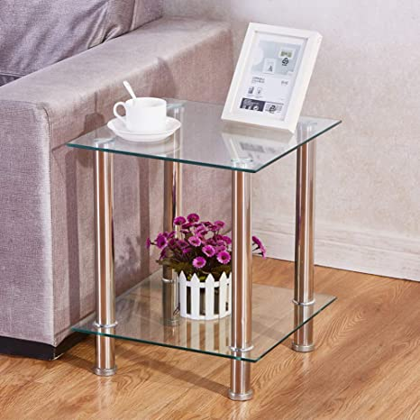 Groovy Goldfan Small Glass Side Tables 2 Tier Square Clear Living Room Coffee End Tables Shelf Stainless Steel Legs With Storage For Office Caraccident5 Cool Chair Designs And Ideas Caraccident5Info