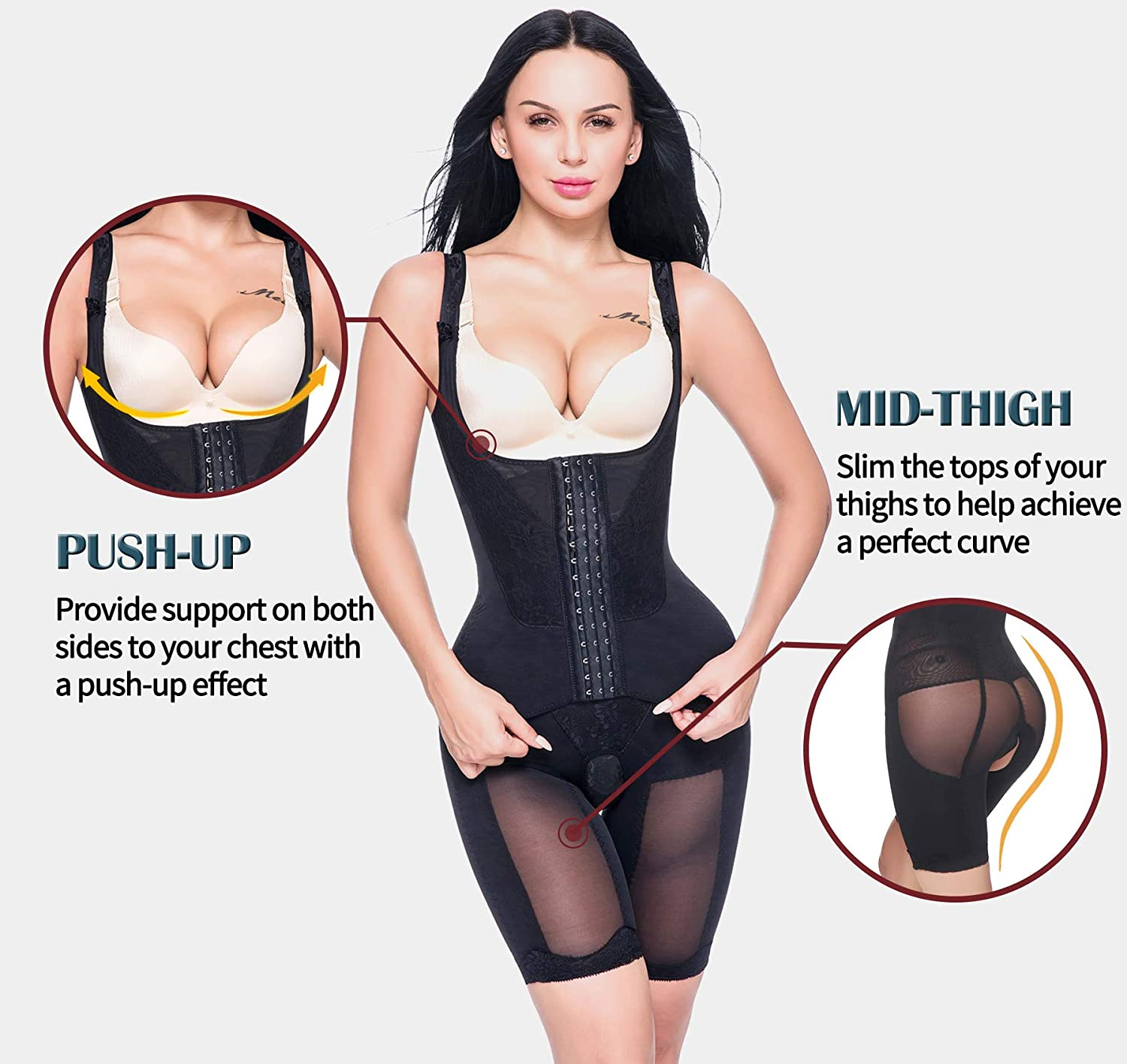 bd1535b423c60 MISS MOLY Women s Body Shaper Waist Trainer Cincher Thigh Reducer Corset  Underbust Bodysuit Shapewear Slimmer Tummy Control at Amazon Women s  Clothing store ...