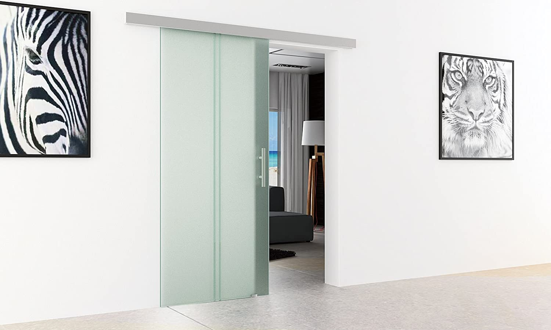 Correderas de cristal para puertas de vidrio transparente Levidor basic-sistema completo de ejecución del carril y barras de mango puerta corredera de vidrio para uso en interiores de vidrio templado-de cristal de