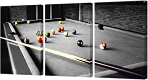 HOMEOART Pool Room Wall Decor Billiards Pictures Black and White Canvas Wall Art Snooker Shooting Pool Painting Boys Room Club Decor Sports Themed Artwork Framed Prints 16