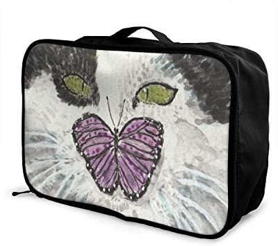 Cat Animal Watercolor Travel Lightweight Waterproof Foldable Storage Carry Luggage Large Capacity Portable Luggage Bag Duffel Bag