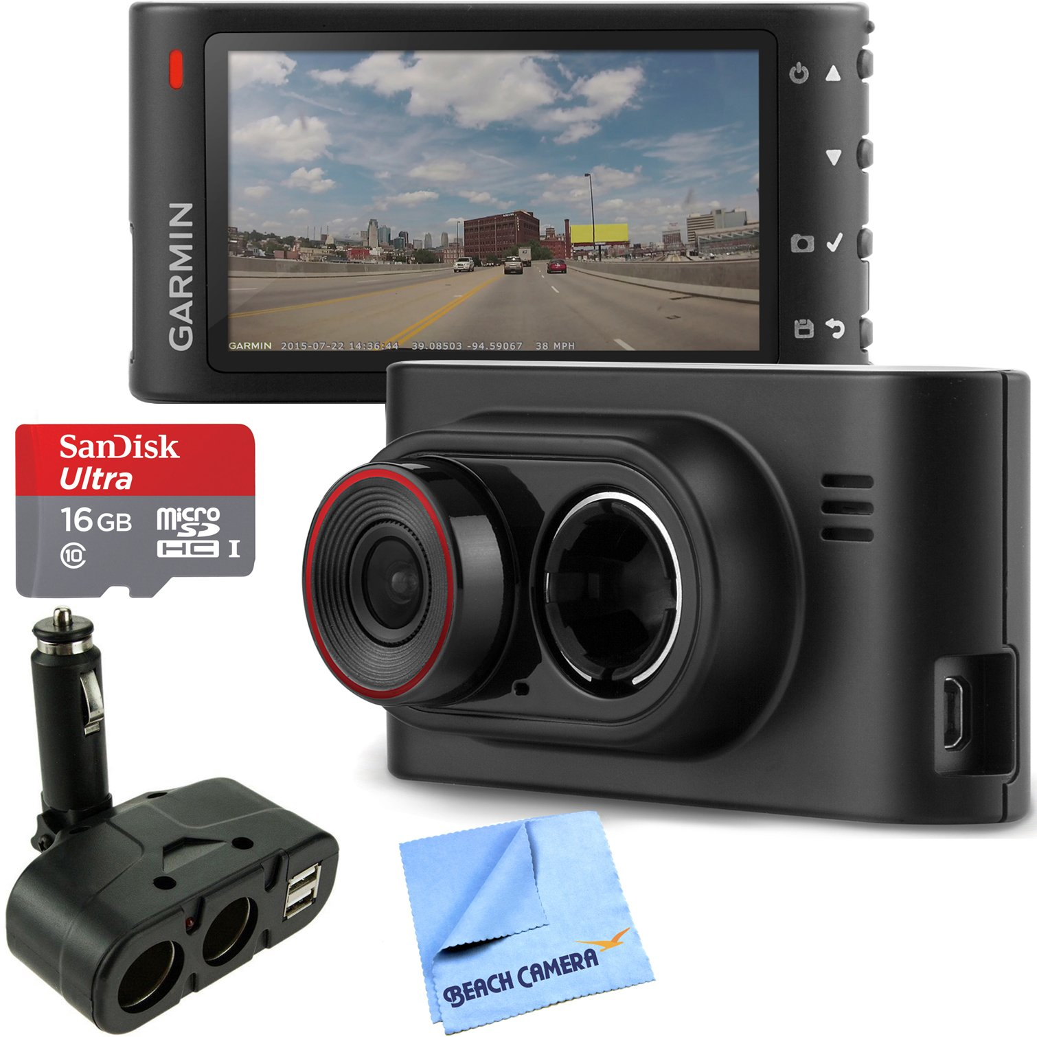 Garmin Dash Cam 35 HD Driving Recorder with GPS + SanDisk microSDHC Ultra 16GB Memory Card with Universal DC 12V/24V Dual USB 4 Port Car Charger and Beach Camera Microfiber Cloth