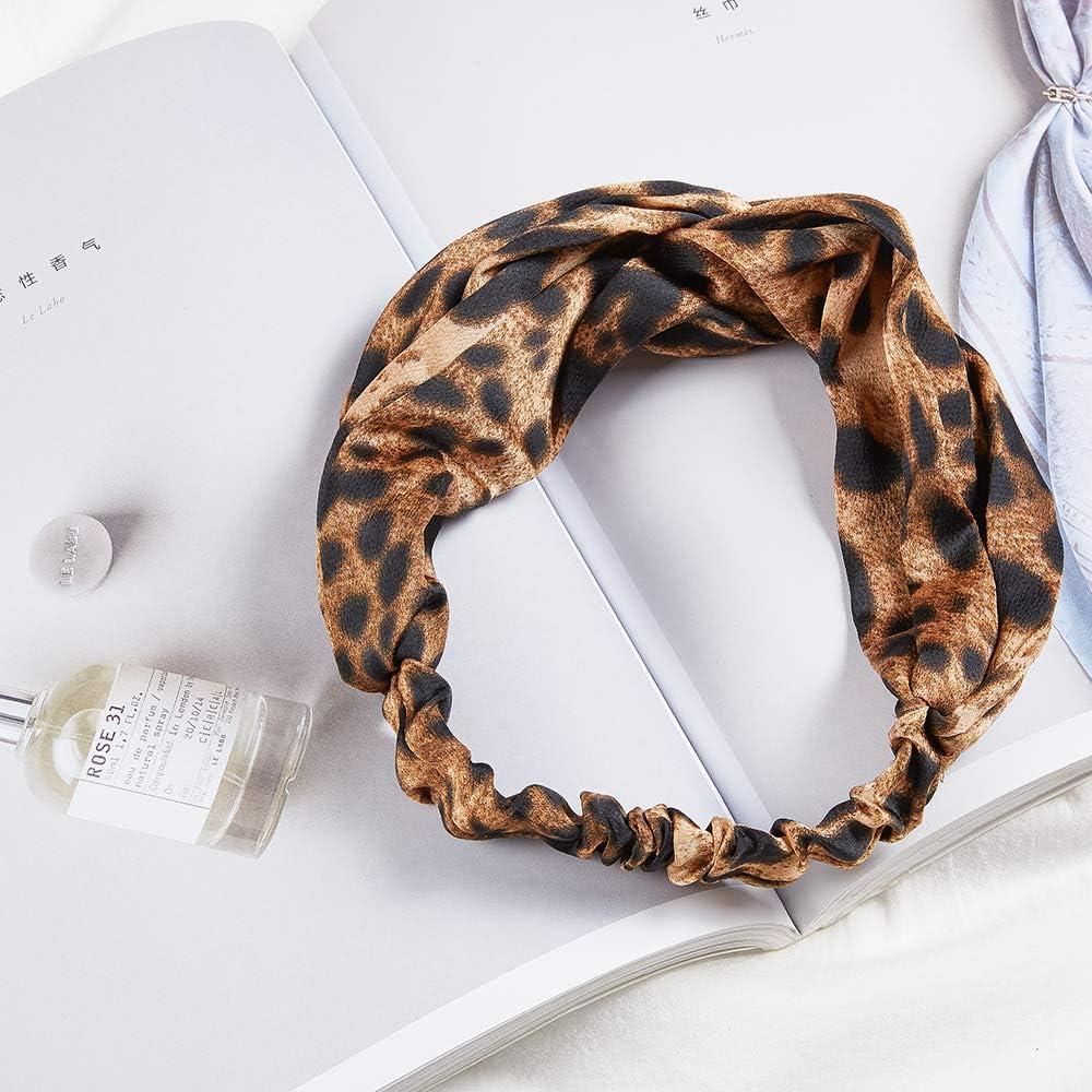 4 fasce elastiche per capelli da donna con stampa leopardata e nodate per trucco alla moda elastici