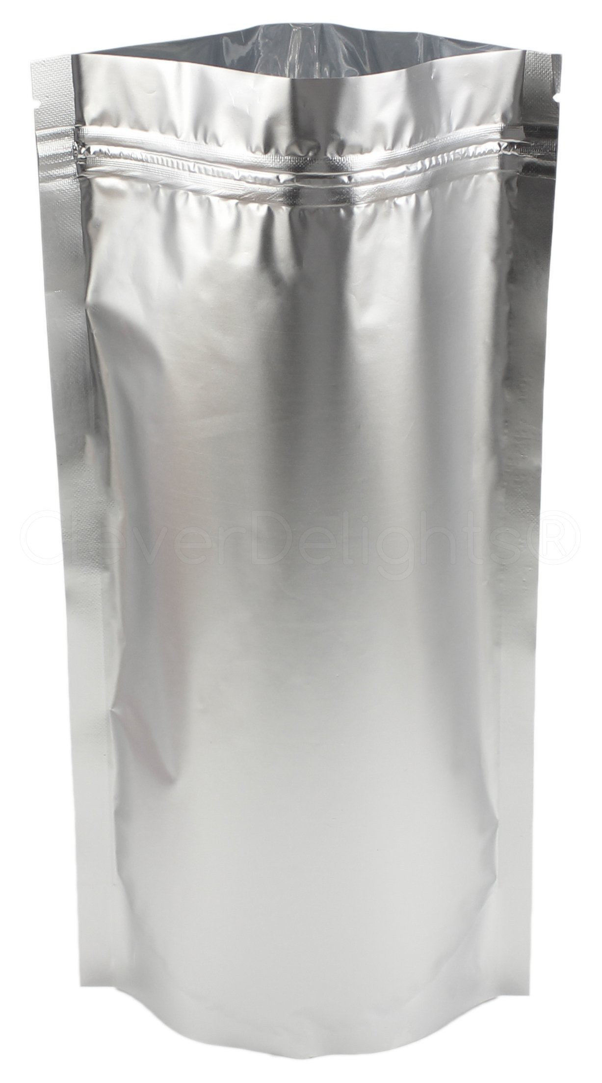 100 Pack - CleverDelights Silver Stand-Up Pouches - 7'' x 11.5'' x 4'' - 16oz - Resealable Ziplock Bag
