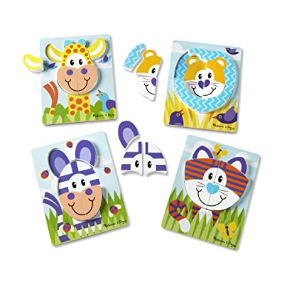 """Melissa & Doug First Play Safari Animals Wooden Chunky Jigsaw Puzzle Set (4-Pack, 9.75"""" x 7.5"""" Each Puzzle, 6-9 Pieces, Great Gift for Girls and Boys - Best for 2, 3, and 4 Year Olds): Toys & Games"""