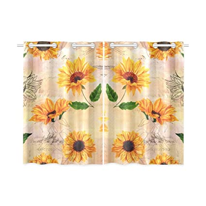 Sunflower Curtains Kitchen Cool Decorating Design
