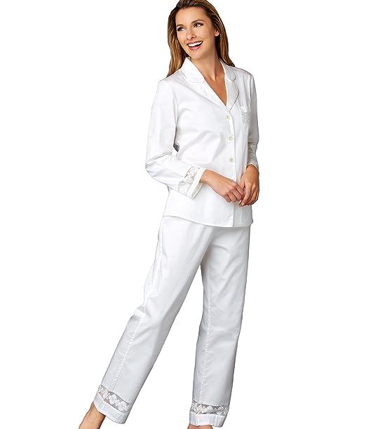 Julianna Rae Mujer Pijama, 100% algodón satén, Encaje de Corte, colección Favorita