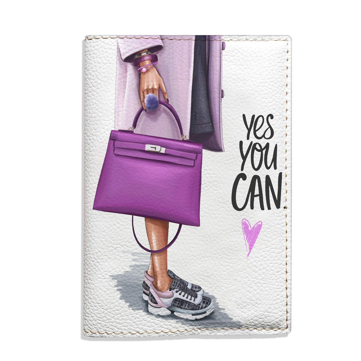 Yes you can travel Passport Holder for Women eco leather white and purple cover for documents