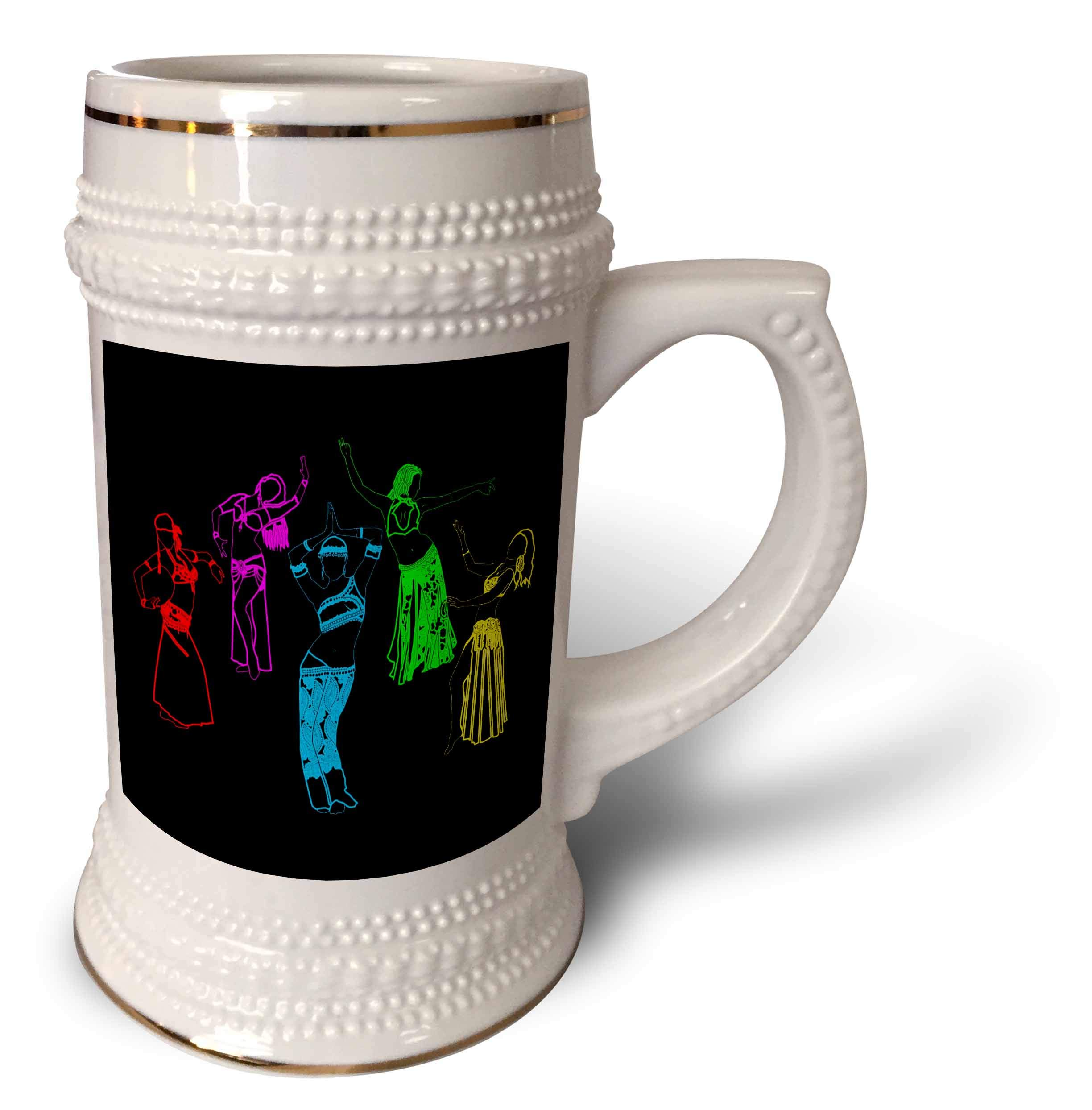 3dRose Alexis Design - Dance - Colorfully outlined silhouettes of oriental female dancers on black - 22oz Stein Mug (stn_294607_1)