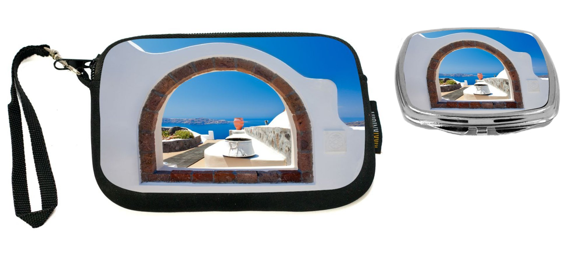 Rikki Knight Greek White Washed Window To Paradise Design Neoprene Clutch Wristlet with Matching Square Compact Mirror