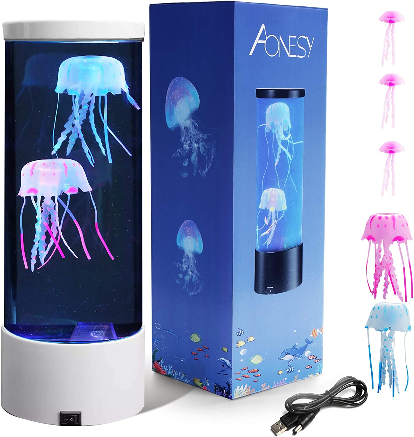 Jellyfish Lamp with Color Changing Lights-Artificial Mini Aquarium Night Light Romantic Gifts for Kids Men Women Dad Mom-Home Office Room Desk Decor Lamp for Christmas Birthday (White)