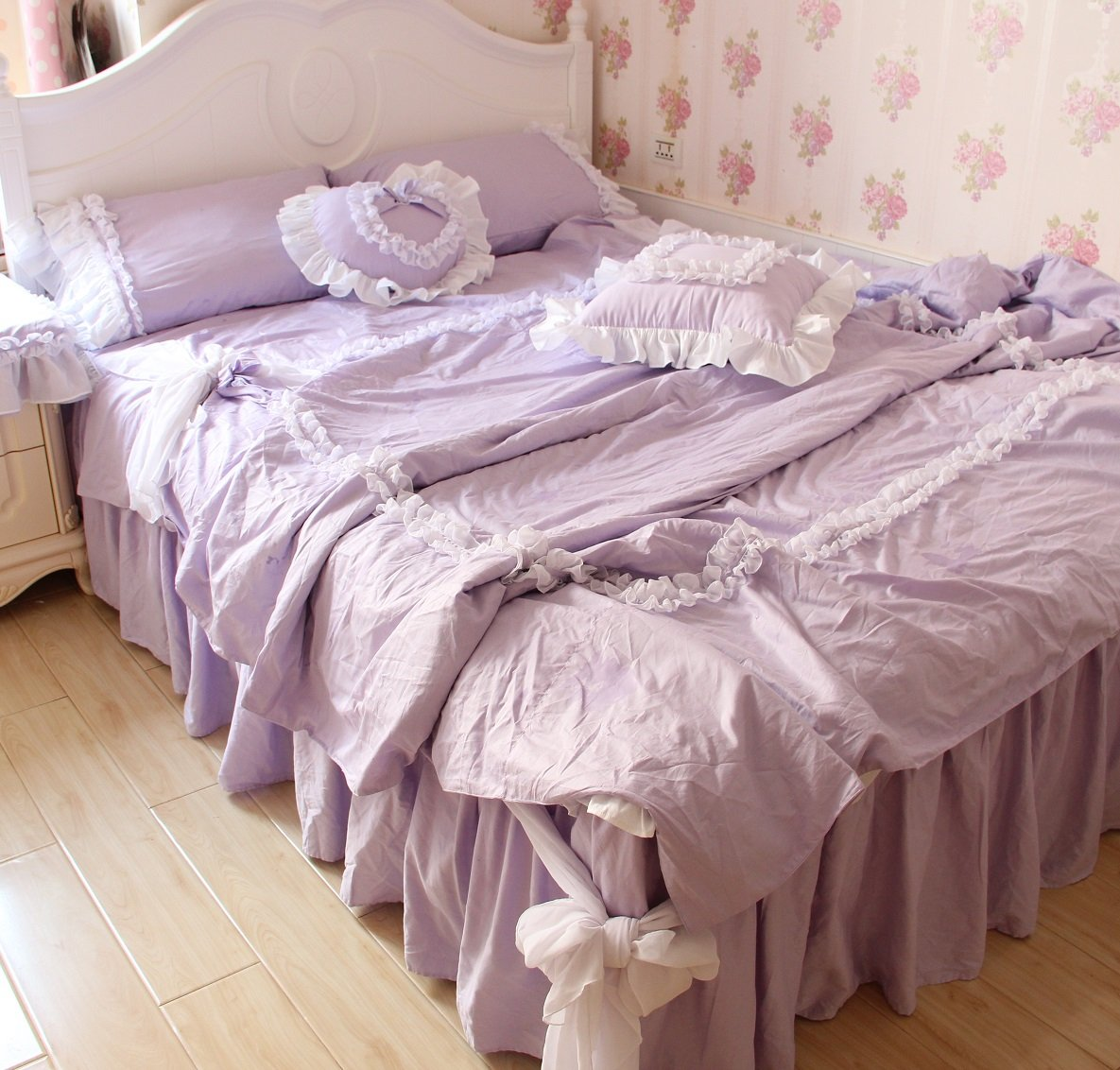 FADFAY Girls Lilac Purple Bedding Set Korean White Lace Ruffle Duvet Cover Bedding Sets Queen Size 4-Piece