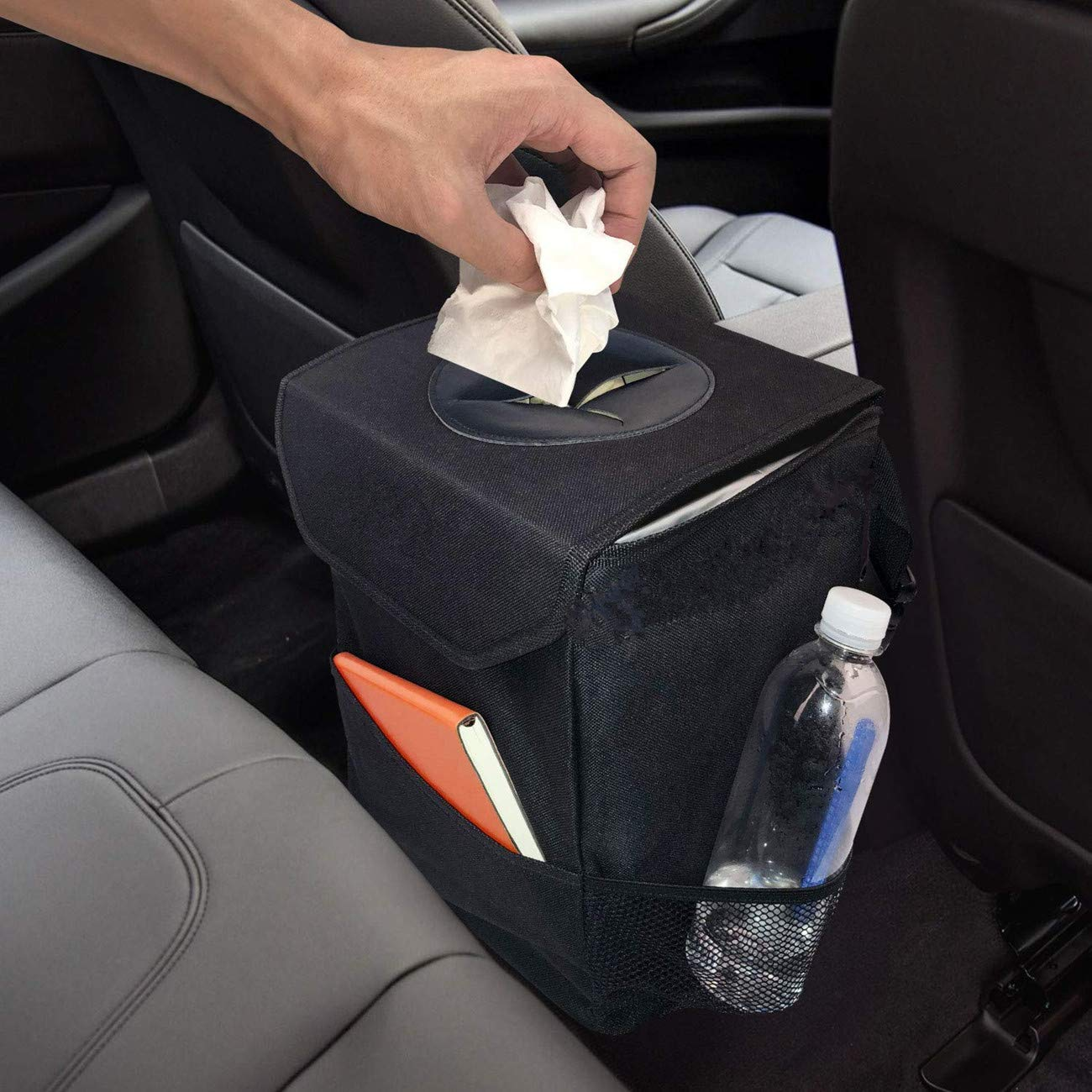 Car Trash Can, Waterproof Odor Blocking Car Trash Bag with 3 Storage Pockets, Auto Litter Garbage Bag, Black Fincy Palmoo