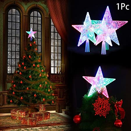 Okdeals Christmas Tree Topper Star Lightled Battery Operated