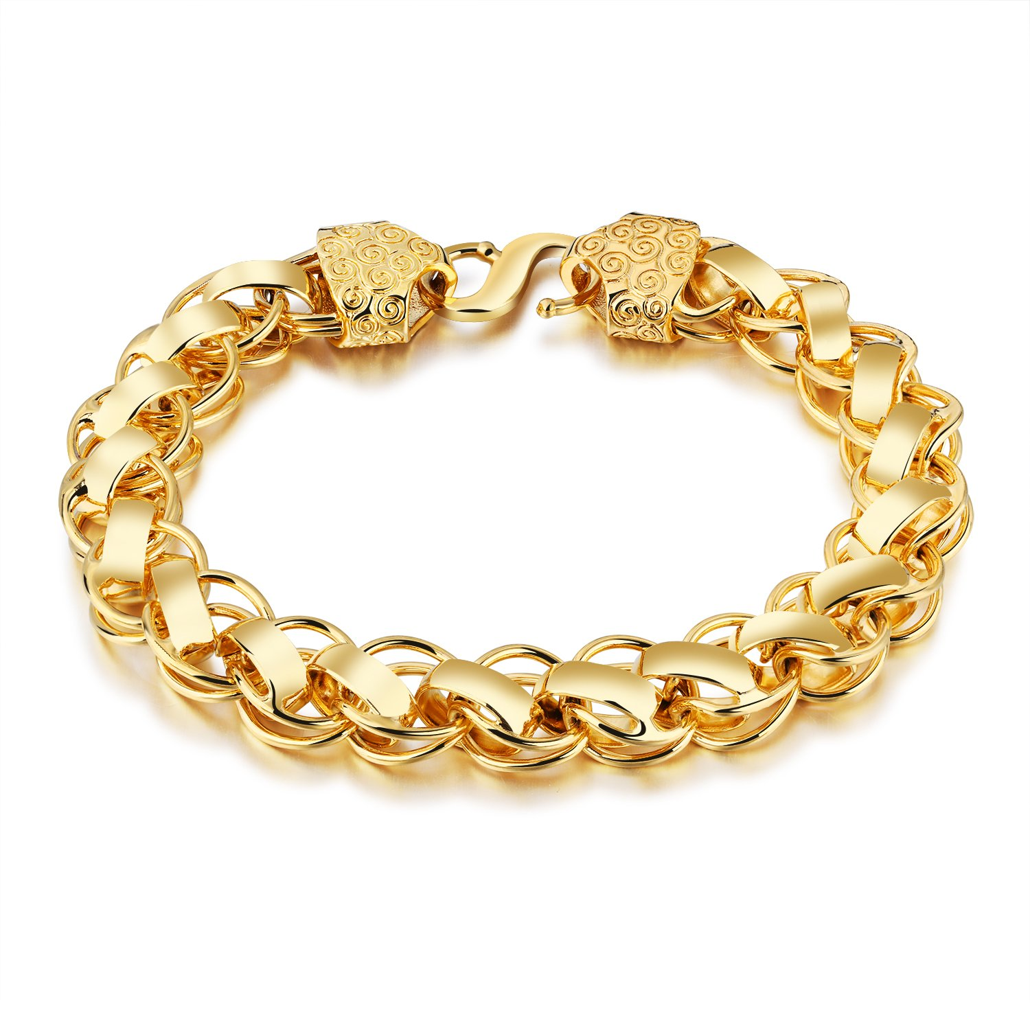 77c974ca7 OPK 18K Yellow Gold Plated 12mm Bracelet for Men with Chinese Lucky Cloud  Pattern, Hook Clasp, 8.27''