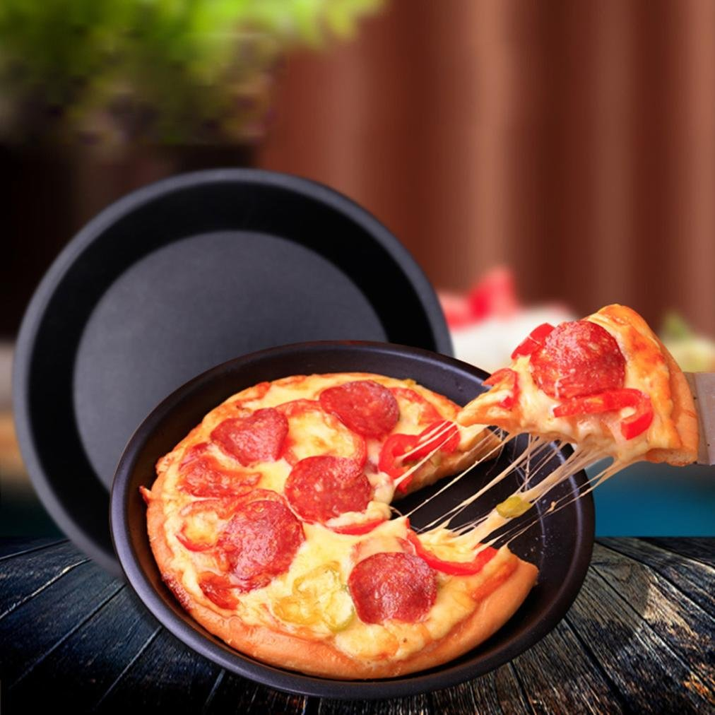 Iuhan Round Pizza Pan Tray Carbon Steel Non-Stick Oven Pizza Plate Pan (6inch, Black)