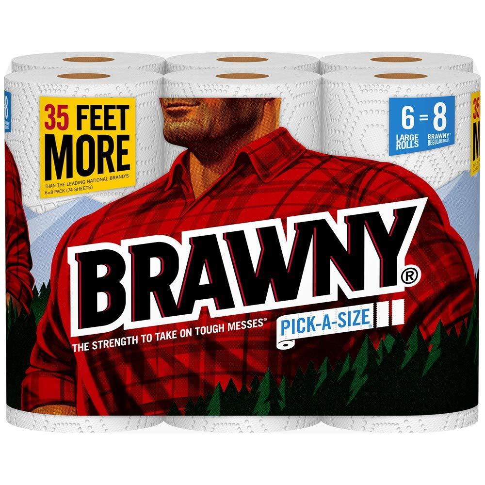 Brawny Paper Towels, Pick-a-Size, 6 Large Rolls, White, 6 = 8 Regular Rolls