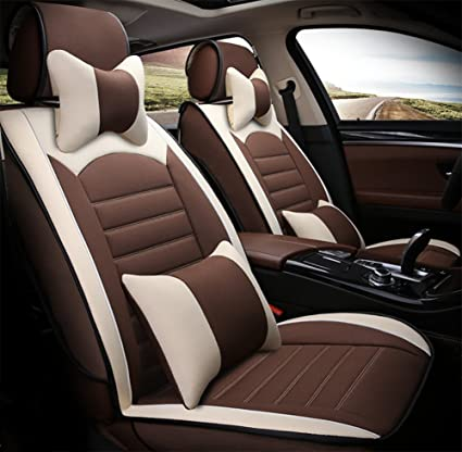 BMDHA Car Seat Covers Flax Materials Breathable Comfortable Cushion Full Set For 5 Seats